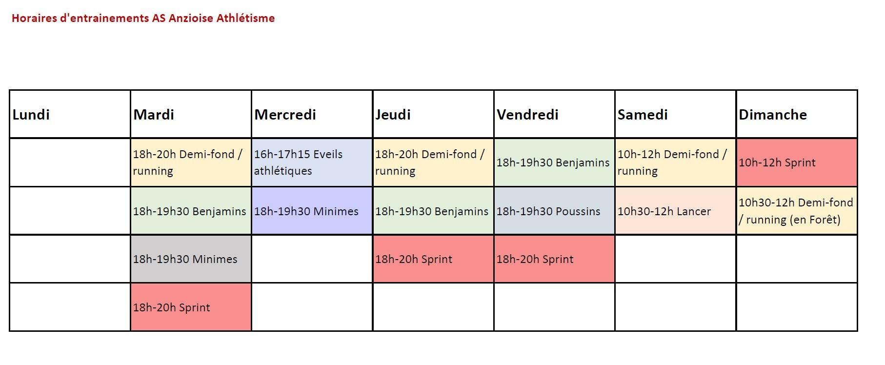Horaires 2020 2021